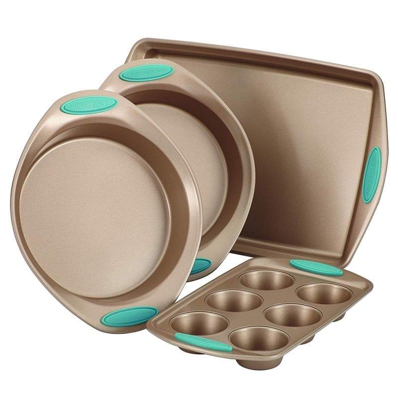 Rachael Ray Cucina nonstick bakeware 4-piece set, agave blue handle
